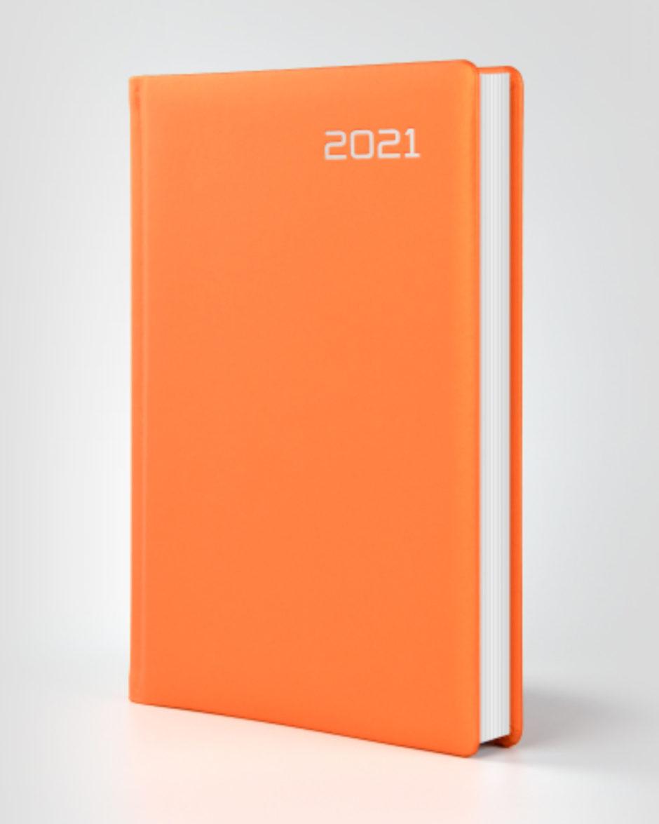 Pomarańczowy kalendarz książkowy w gumowej okładce