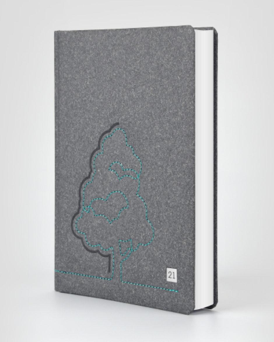 Kalendarz książkowy szary eko