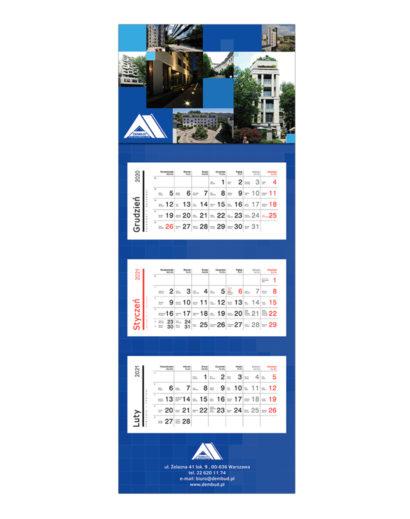 Kalendarz Trójdzielny Niebieski