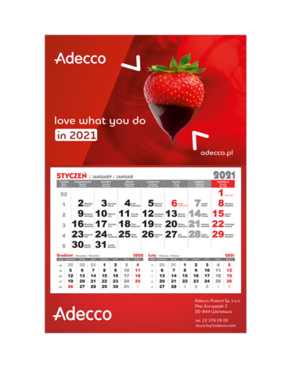 Kalendarz Jednodzielny Czerwony
