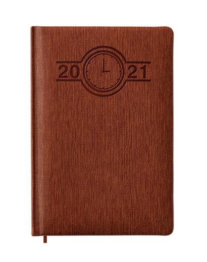 Kalendarz dzienny A5 w brązowej i fakturowanej oprawie