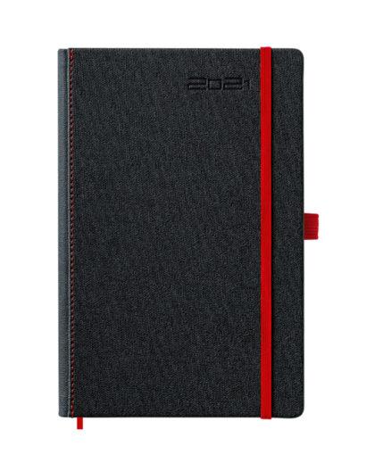 Czarno-czerwony kalendarz dzienny A5
