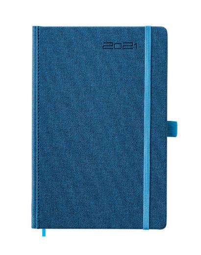 Granatowy kalendarz A5 z błękitną gumką