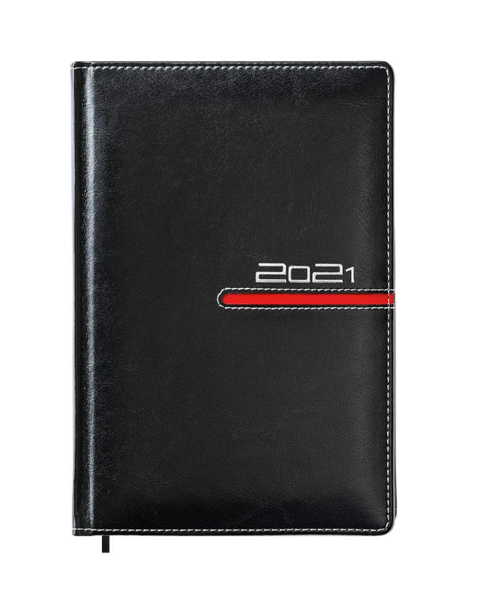 Czarny kalendarz B5 z czerwonym przeszyciem