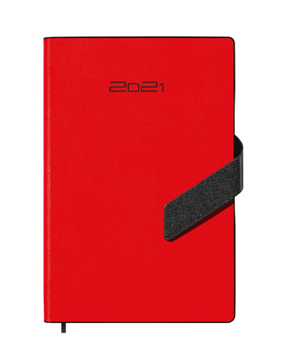Czerwony kalendarz A5 dzienny z czarnym zapięciem