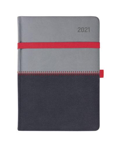 Kalendarz dzienny A5 z czerwoną poprzeczną gumką