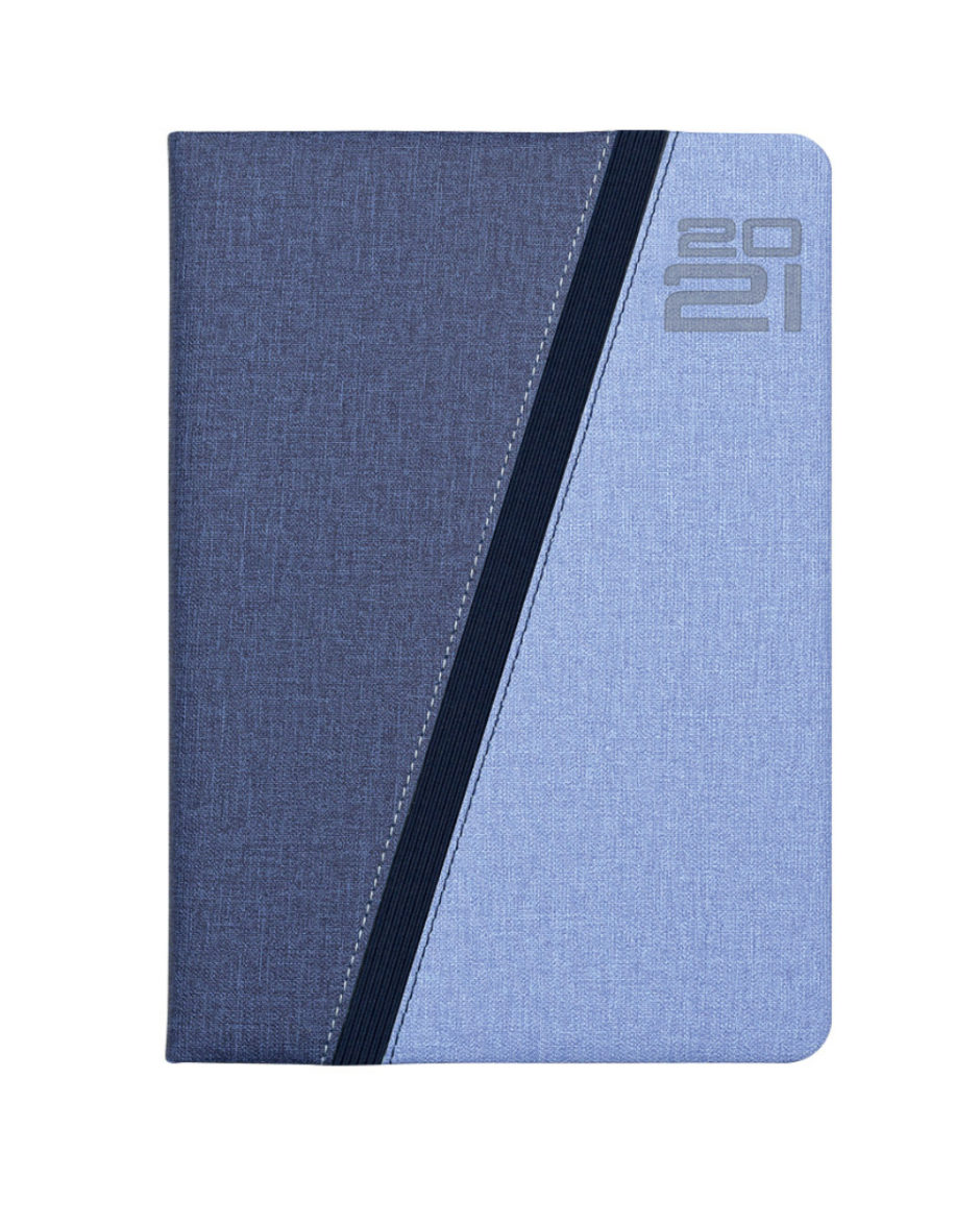 Błękitny kalendarz z szarym przeszyciem dzienny A5