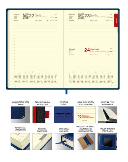 Kalendarium granatowego dziennego kalendarza A5