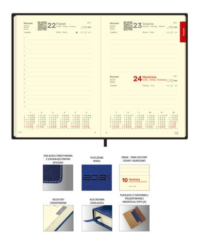 Kalendarium dzienne granatowego kalendarza dziennego