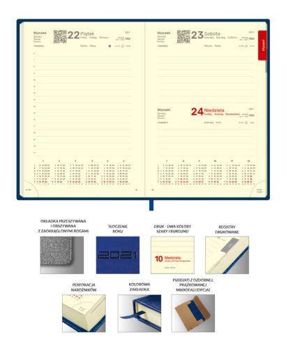 Kredowe kalendarium kalendarza granatowego A5