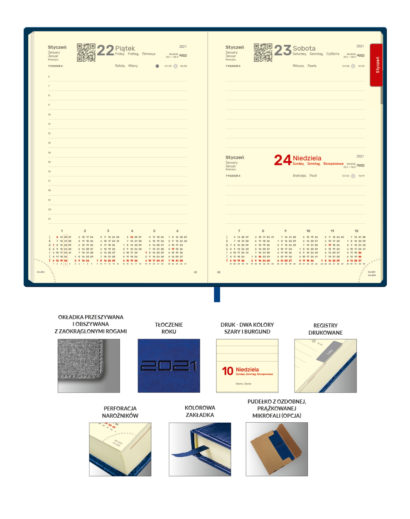 Kredowe kalendarium A5 na papierze chamois