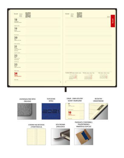 Kremowe kalendarium A5 książkowe w układzie tygodniowym