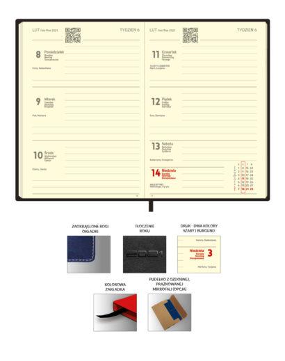 Kalendarium kremowe kalendarza książkowego A6