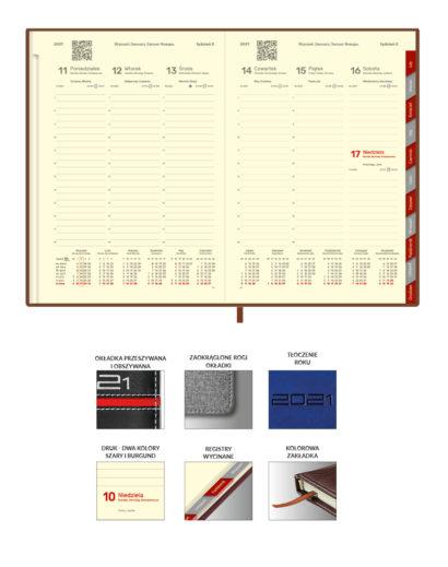 Kremowe kalendarium dzienne na papierze kredowym