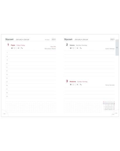 Białe kalendarium tygodniowe A5 na szarym kalendarzu z przeszyciem