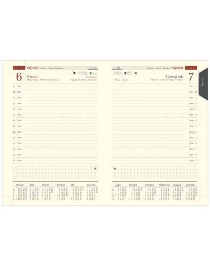 Ciekawe kalendarium dzienne A5 na kremowym papierze chamois