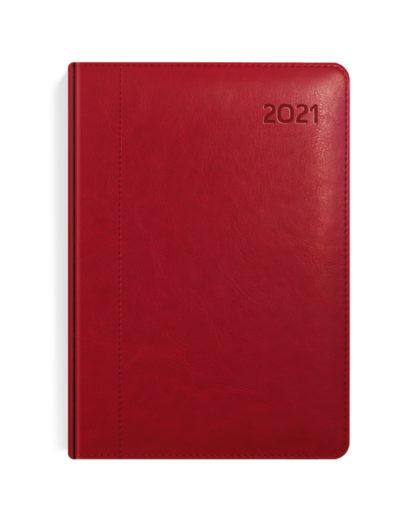 Czerwony kalendarz dzienny B5 z tłoczonym rokiem