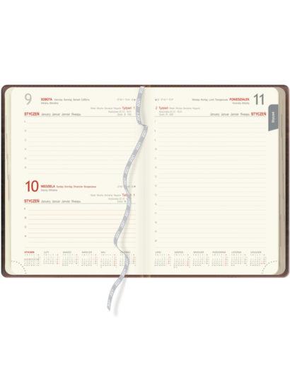 Kalendarium granatowego kalendarza dziennego B5