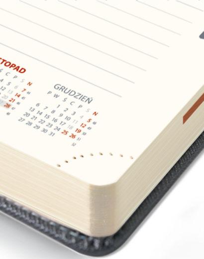 Perforowane narożniki kalendarza dziennego B5 w kolorze szarym