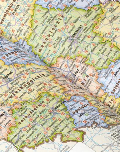 Mapa w kalendarzu dziennym B5 czerwonym